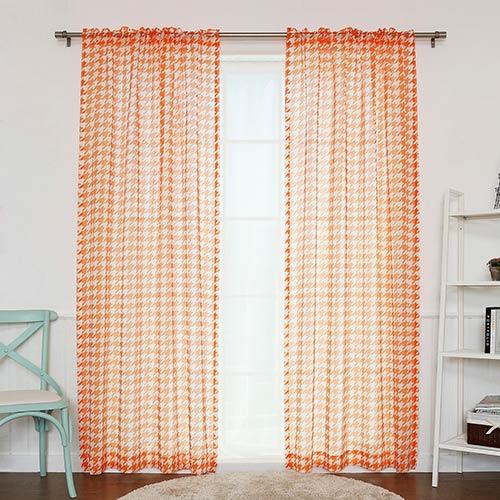Rose Street Orange Houndstooth 84 x 52 In. Curtain Panel