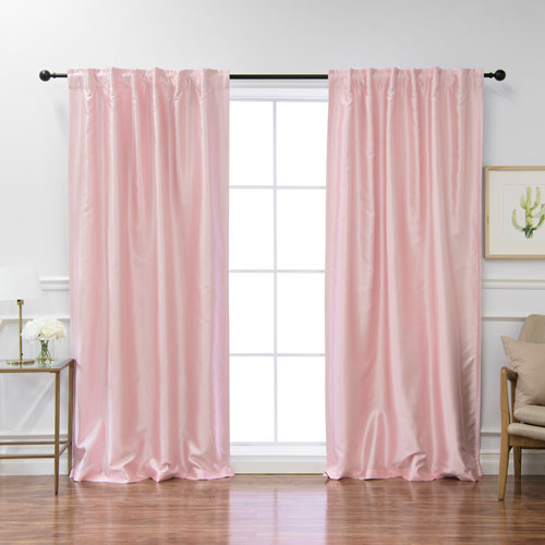 Faux Silk Light Pink 96 x 52 In. Blackout Curtains, Set of Two