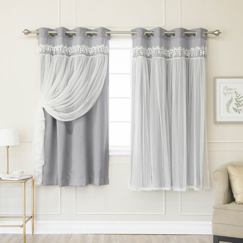 Grey Lace 52 x 63 In. Overlay Blackout Curtains, Set of Two