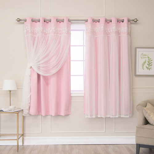 Rose Street Pink Lace 52 x 63 In. Overlay Blackout Curtains, Set of Two