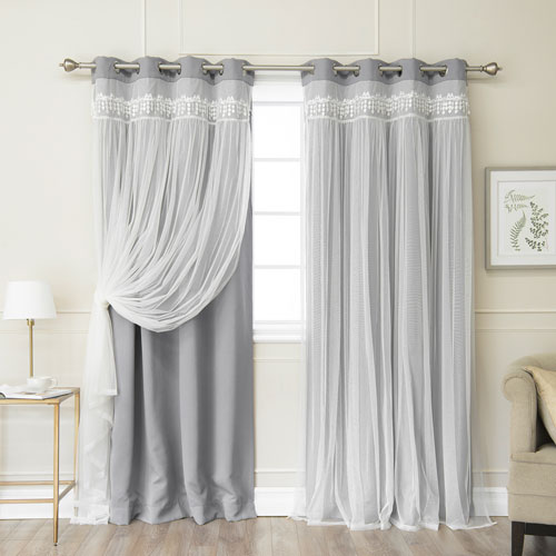 Grey Lace 84 x 52 In. Overlay Blackout Curtains, Set of Two