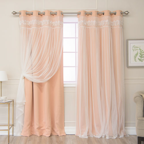 Indie Pink Lace 84 x 52 In. Overlay Blackout Curtains, Set of Two