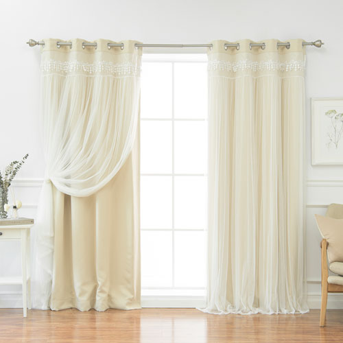 Beige Lace 96 x 52 In. Overlay Blackout Curtains, Set of Two