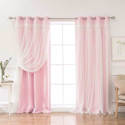 Pink Lace 96 x 52 In. Overlay Blackout Curtains, Set of Two