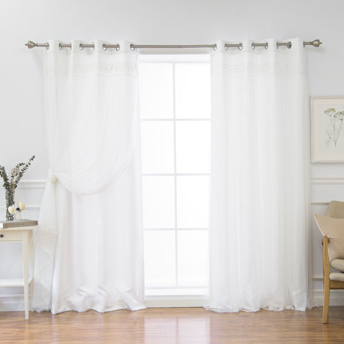 Rose Street White Lace 96 x 52 In. Overlay Curtains, Set of Two
