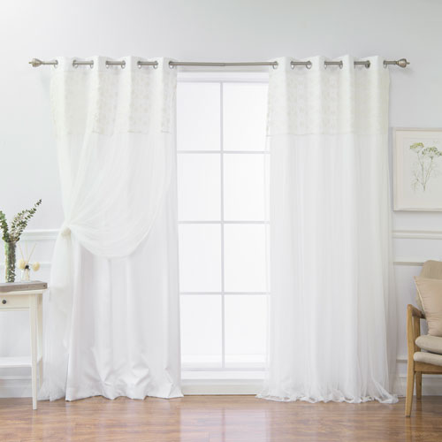 White Floral Lace 96 x 52 In. Overlay Curtains, Set of Two