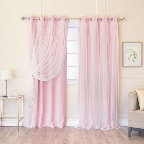 Pink 108 x 52 In. Grommet Blackout Curtains with Tulle Overlay, Set of Two