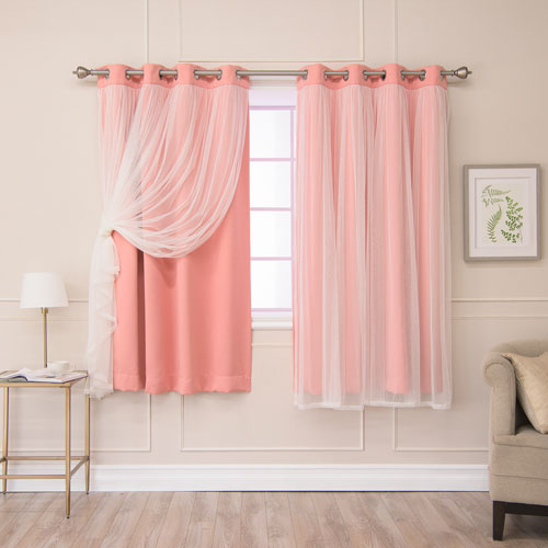 Rose Street Coral 52 x 63 In. Grommet Blackout Curtains with Tulle Overlay, Set of Two