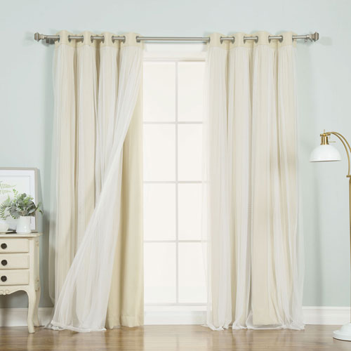 Beige 96 x 52 In. Grommet Blackout Curtains with Tulle Overlay, Set of Two