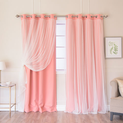 Coral 96 x 52 In. Grommet Blackout Curtains with Tulle Overlay, Set of Two