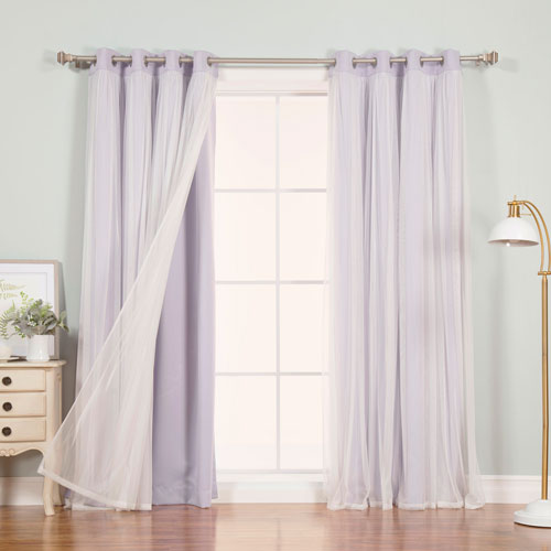 Rose Street Lilac 96 x 52 In. Grommet Blackout Curtains with Tulle Overlay, Set of Two