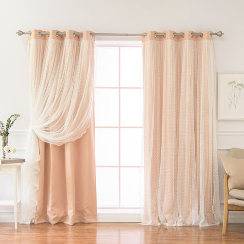 Rose Street Dotted Lace Indie Pink 84 x 52 In. Overlay Blackout Curtains, Set of Two