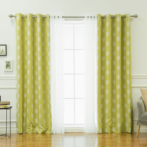 Rose Street Tulle and Arrow Greentea 84 x 52 In. Mix and Match Curtains, Set of Four