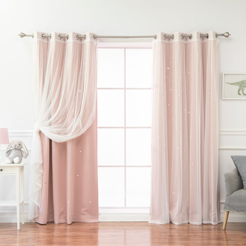 Rose Street Tulle and Star Cut Out Blackout White 84 x 52 In. Mix and Match Curtains, Set of Four