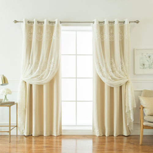 Sheer Agatha and Blackout Beige 84 x 52 In. Mix and Match Curtains, Set of Four
