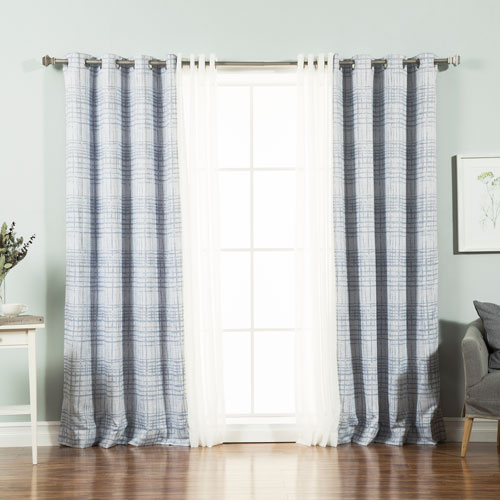 Rose Street Sheer Linen Look and Sketched Grid Light Blue 84 x 52 In. Mix and Match Curtains, Set of Four