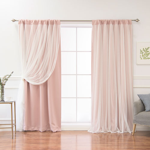 White 84 x 52 In. Blackout Curtains with Tulle Overlay, Set of Two