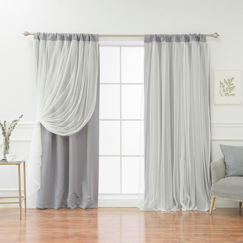 Rose Street White 84 x 52 In. Blackout Curtains with Tulle Overlay, Set of Two
