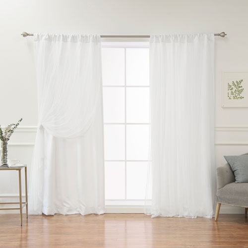 White 84 x 52 In. Opaque Curtains with Tulle Overlay, Set of Two