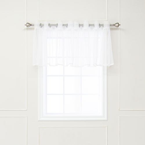 Lace Trim White Valance, Set of Two