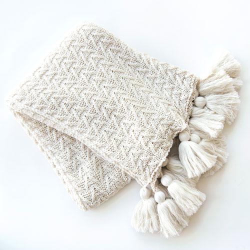 Knitted White Tassel Throw