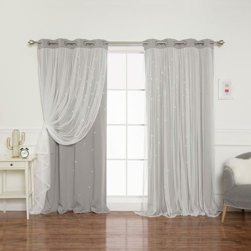 Dove Tulle Overlay Star Cut Out 84 x 52 In. Blackout Curtains