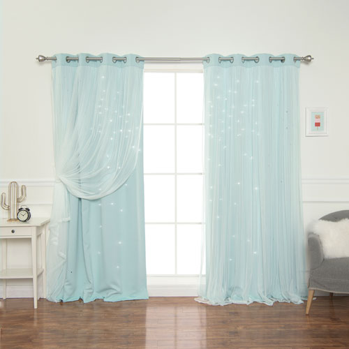 Mint Tulle Overlay Star Cut Out 84 x 52 In. Blackout Curtains