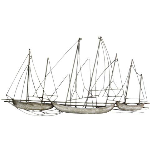 Stratton Home Décor Antique Silver Grand Sailboat Wall Decor
