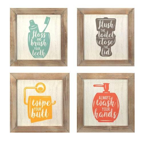 Floss, Flush, Wipe, Wash Wall Art, Set Of Four