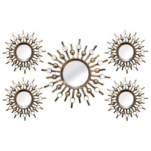 Burst Wall Mirrors, Set of Five