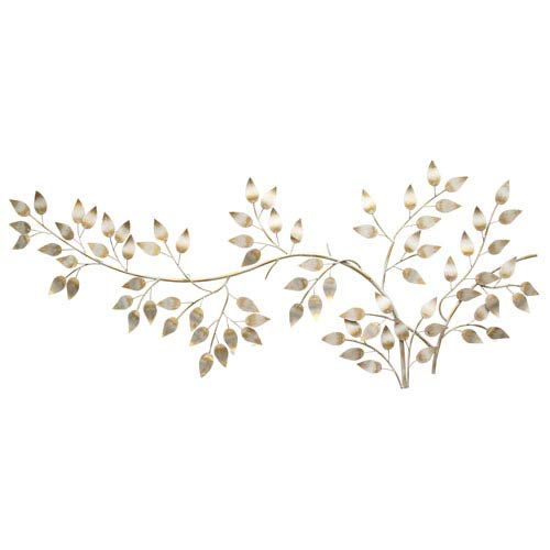 Stratton Home Décor Brushed Gold Flowing Leaves Wall Decor