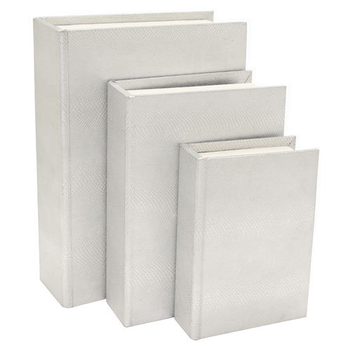 White Wood Book Box, Set of Three