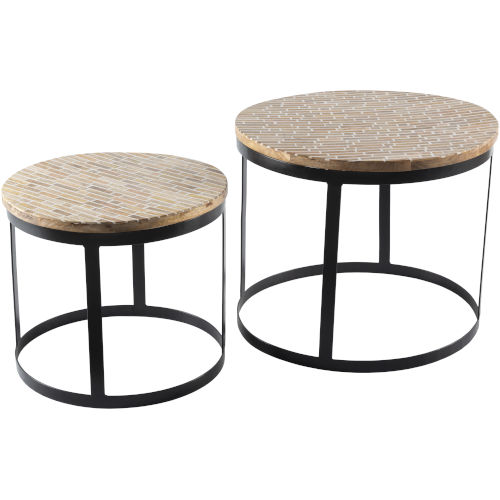 Abrazo Natural and Black Accent Table, 3 Pieces
