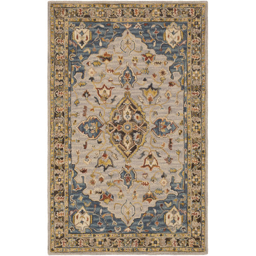 Artemis Camel and Dark Blue Rectangle 4 Ft. x 6 Ft. Rugs