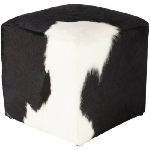 Angus Black and Cream 16-Inch Pouf