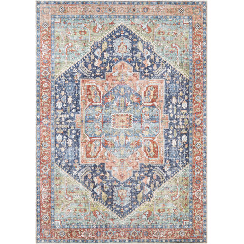 Amelie Teal and Blush Rectangle 7 Ft. 10 In. x 10 Ft. 2 In. Rugs