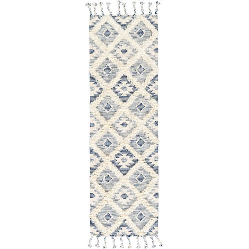Apache Dark Blue and Cream Runner 2 Ft. 6 In. x 8 Ft. Rugs