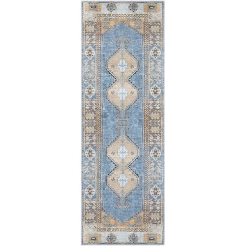 Antiquity Bright Blue Runner Rugs
