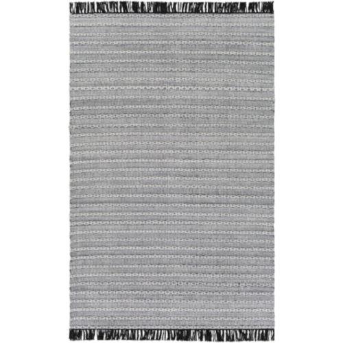 Azalea Black, Silver Gray and White Rectangular: 5 Ft. x 7 Ft. 6 In. Rug