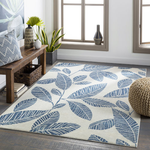 Bodrum Pale Blue Rectangular: 6 Ft. 11 In. x 9 Ft. Indoor-Outdoor Rug