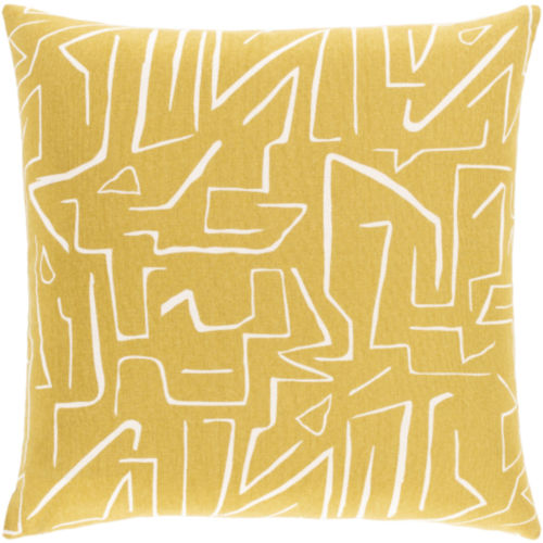 Bogolani Mustard and Cream 20 x 20 Inch Throw Pillow