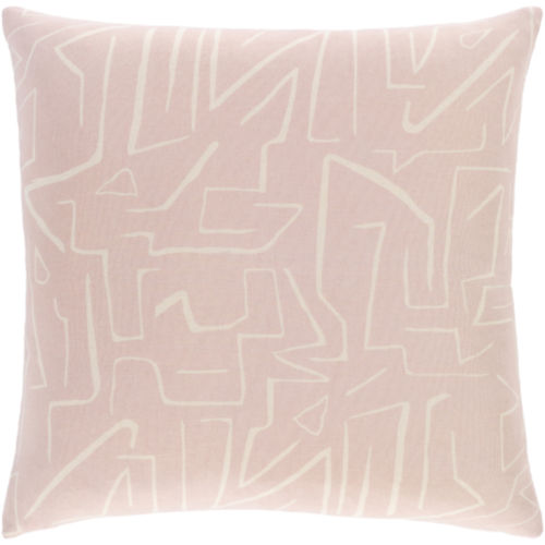 Bogolani Pale Pink and Cream 20 x 20 Inch Throw Pillow
