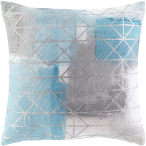 Balliano White and Metallic Silver 20 x 20 Inch Throw Pillow