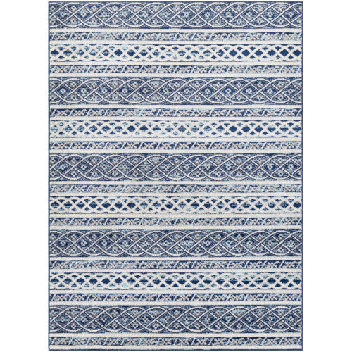 Chester Dark Blue Stripe Rectangle 7 Ft. 10 In. x 10 Ft. 3 In. Machine Woven Rug