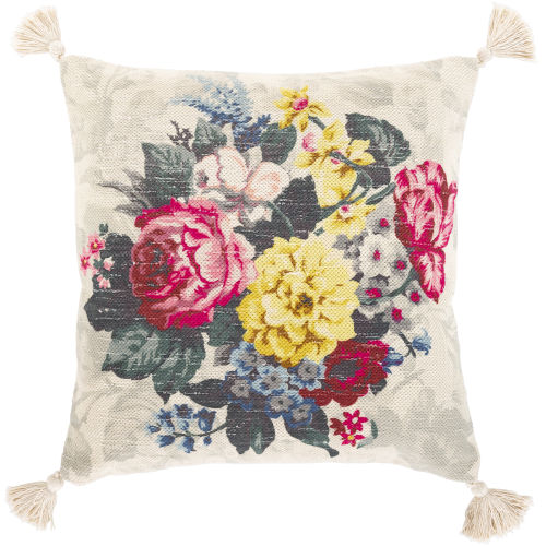 Daphne Multi-Color and Beige 22-Inch Throw Pillow