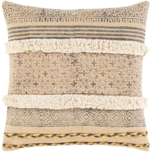 Dayna Beige and Tan 22 x 22 Inch Throw Pillow