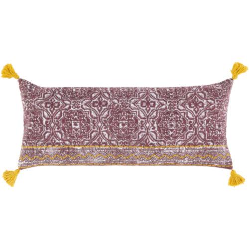 Dayna Beige, Saffron and Burgundy 32 x 14 Inch Throw Pillow