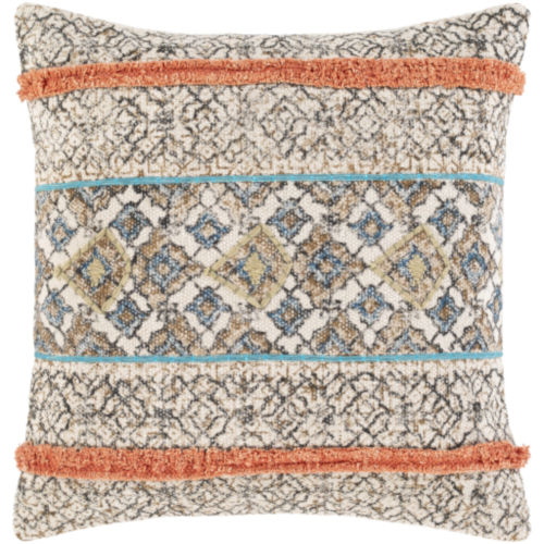 Dayna Beige and Coral 20 x 20 Inch Throw Pillow