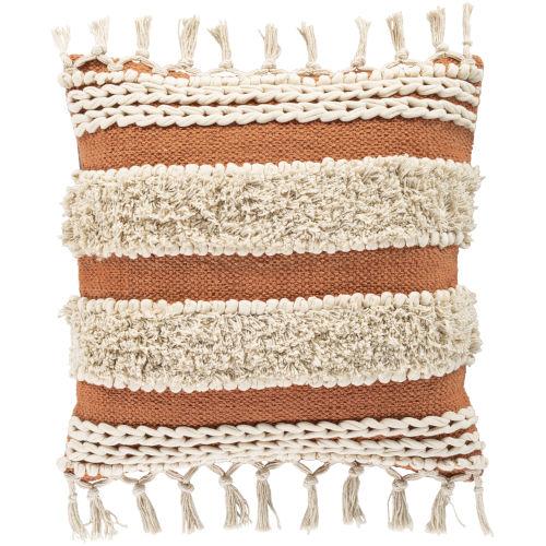 Helena Khaki and Burnt Orange 18-Inch Throw Pillow
