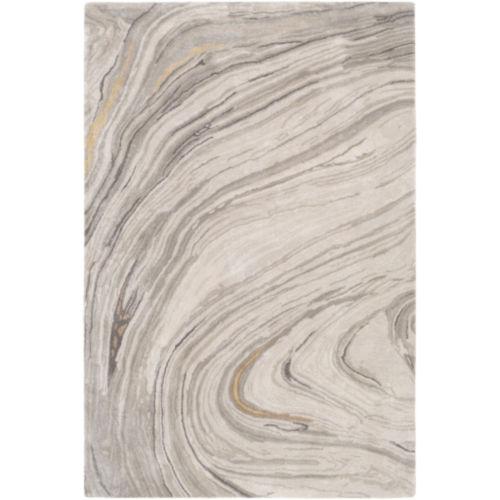 Kavita Light Gray and Ivory Rectangular: 2 Ft. x 3 Ft. Rug